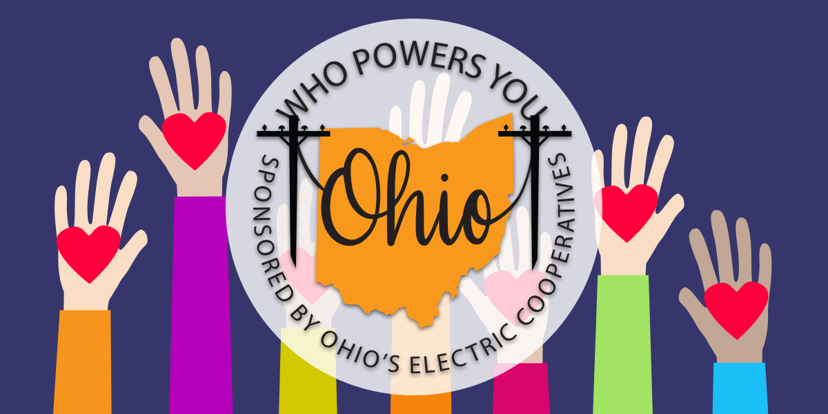 Who Powers you logo with hands in the air